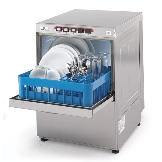 Picture of an open dishwasher full of dishes - water usage commercial dishwashers